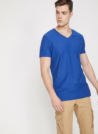 Koton V Yaka T-Shirt Mavi
